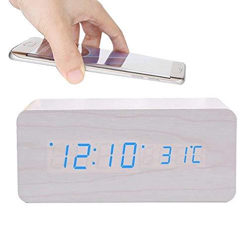 JieMiTe Elektrischer Holzwecker mit kabellosem Ladepad LED Digitales Ladegerät für Schlafzimmer Home Decoration Sound Control Clocks-K.
