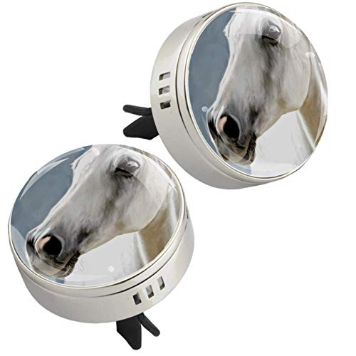Yumansis White Animal Horse Silver 2 car aroma diffuser salking aroma diffuser Alloy metal Crystal glass Aromatherapy clip + 4 Refill pads