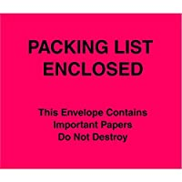 Tape Logic TLPL483 Packing List Enclosed Important Papers Enclosed Envelopes (Paper Face) 7 x 6 Red (Pack of 1000) [並行輸入品]
