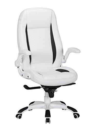 AMSTYLE Bürostuhl BELGRAD Bezug Kunstleder Weiß Design Schreibtischstuhl X-XL 110 kg Chefsessel höhenverstellbar Drehstuhl ergonomisch mit Armlehnen Racer hohe Rücken-Lehne Wippfunktion Racing Race