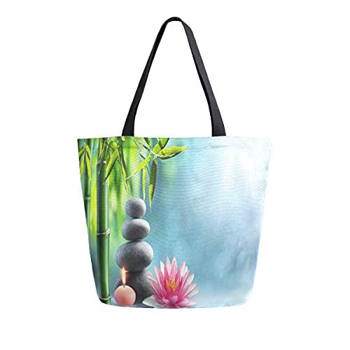 COZYhome - Bolsa de lona japonesa con piedra de masaje zen y bambú, bolsa de compras...