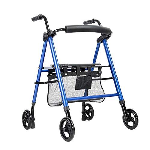 Walker plegable Walker Drive Medical, carro resistente con asiento, doble cuatro caminantes médicos freno de la rueda, que se utiliza para caminar ancianos, Azul,azul