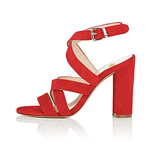 Women Sandals Open Toe Square High Heels Sandals Black Blue Beige Purple Red Shoes
