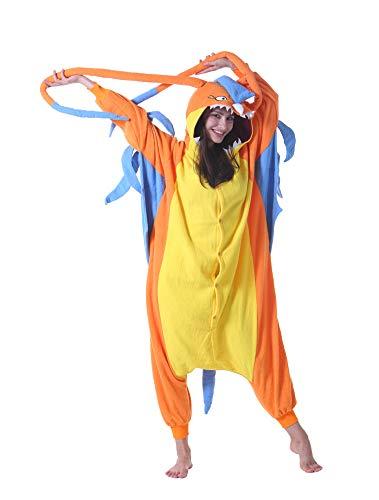 Jumpsuit Onesie Tier Karton Fasching Halloween Kostüm Sleepsuit Cosplay Overall Pyjama Schlafanzug Erwachsene Unisex Lounge Neuer Drache L(168-177CM)
