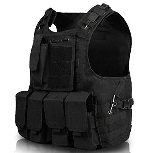 Viktion - Gilet tactique Veste tactique Quickly Strip off Fournitures police et les militaires pour Airsoft camping randonnée armée (Noir)