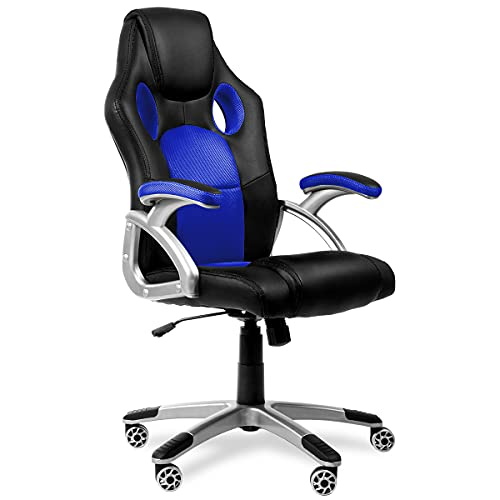 sedia gaming mc racing Sedia da ufficio Racing Gaming sport poltrona girevole colore bleu -McHaus