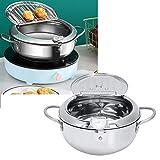 Fritadeira de cozinha, frigideira removível Tempura Panela ampla de aço inoxidável de aplicação para cozinha para restaurante(Large oil pan-3.4L (24CM))