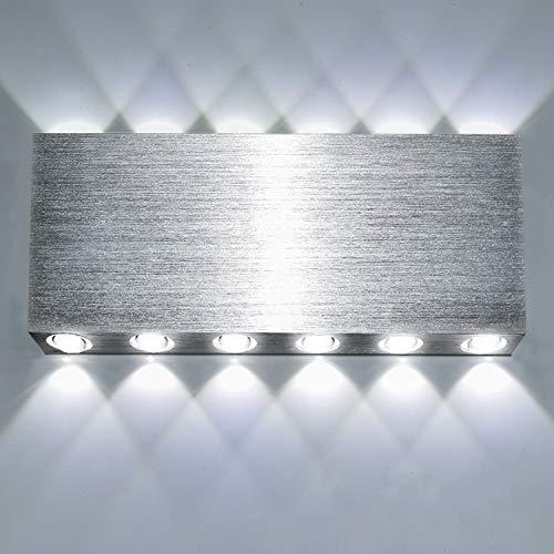 Lightess 24W Apliques de Pared LED Moderna Lámpara de Pared Interior Luz de Puro Aluminio Iluminación de Ambiente para Escaleras, Sala de estar, Dormitorio (blanco frío, 27 * 12 * 3)
