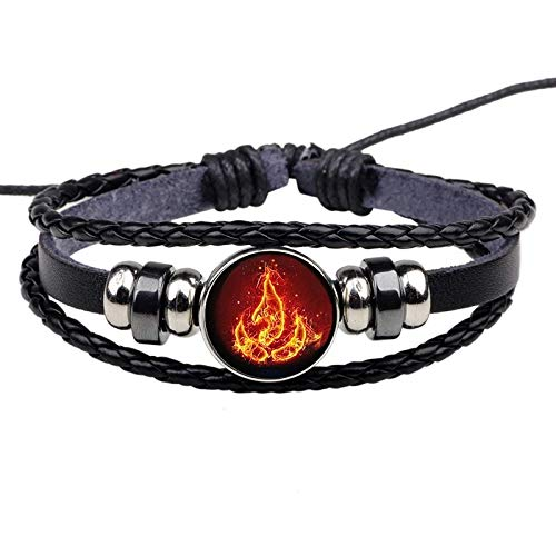 Nichibotsu Bracelet - Avatar The Last Airbender Fire Nation Logo Black Leather Bracelet Anime Jewelry Aang Prince Zuko Cosplay Accessories (1)