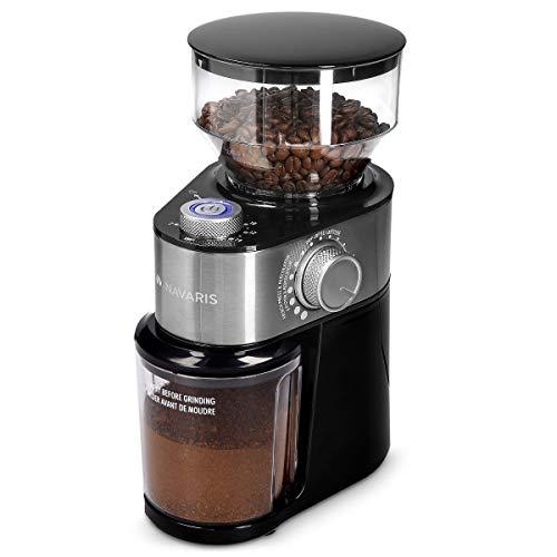 Navaris Macinacaffè Professionale a Casa - Coffee Grinder Elettrico Macchina Macina Semi - Macinino Trita Chicchi per Macchinetta del caffè - Argento