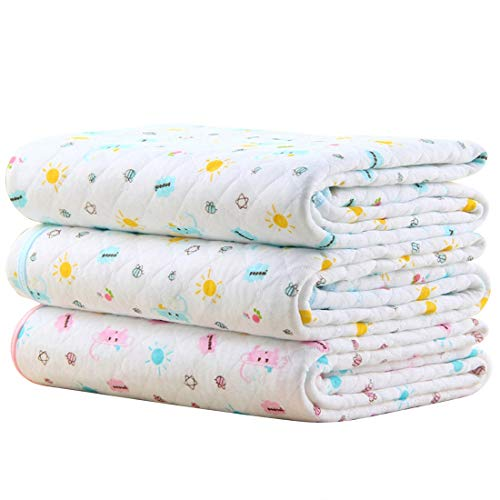 MBJERRY Waterproof Changing Pads Portable - Breathable Leak Proof Mattress Pad Protector Baby Changing Mat for Toddler, Kids Pack of 3 (M (27.5 x 19.7 Inch))