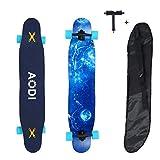 AODI Longboard Skateboard Cruiser, 46' Complete Skate Board 7 Layers Maple Wood for Free-Style and Downhill Skateboard for Teens Adults Beginners Girls Boys