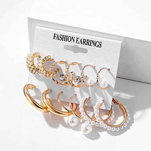 FEARRIN Earrings Trendy Unique Design Trendy Pearl Hoop Earrings for Women Gold Geometirc Circle Butterfly Earrings Brincos Gift Wedding Jewelry H187-0729