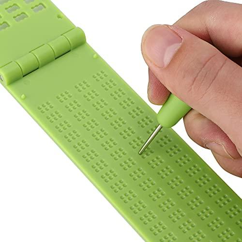 Okuyonic Pizarra de plástico en Braille, pequeña Herramienta de Aprendizaje en Braille con lápiz óptico Pizarra en Braille con lápiz para la Escuela de educación Especial para el Aprendizaje en