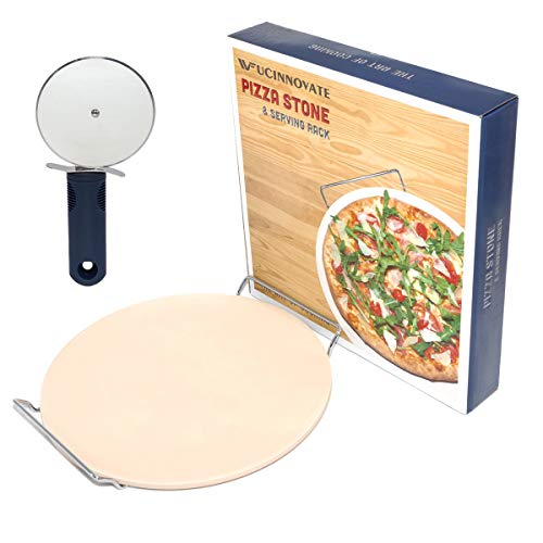 """UCIN Pizza Grilling Stone for Oven, Bonus Free Pizza Cutter & Rack, 13"""" Pizza Baking Stone, Ceramic Pizza Pan, Thermal Shock Resistant, Certified Safe for Crisp Crust Pizza, Cookies, Bread, Pies"""