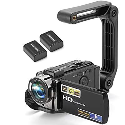 Video Camera Camcorder Digital YouTube Vlogging Camera Recorder kimire HD 1080P 15FPS 24MP 3.0 Inch 270 Degree Rotation LCD 16X Digital Zoom Camcorder with Stabilizer, 2 Batteries by kimire