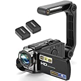 Video Camera Camcorder Digital YouTube Vlogging Camera Recorder kimire HD 1080P 15FPS 24MP 3.0 Inch 270 Degree Rotation LCD 16X Digital Zoom Camcorder with Stabilizer, 2 Batteries