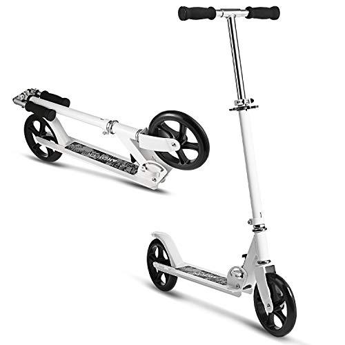 Hikole City Scooter Tretroller Kickscooter Klappbar und Höhenverstellbar mit Big Wheel für Erwachsene und Jungendlichen ab 12 Jahre bis 100kg (Typ2 Weiß)