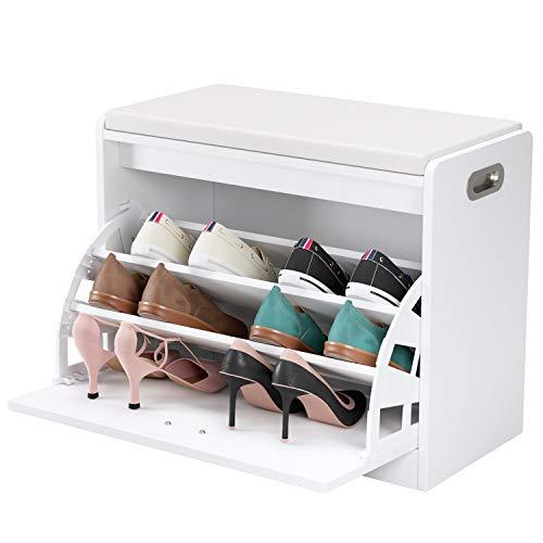 Homfa Zapatero con Asiento Banco Zapatero Blanco Organizador para Zapatos con 3 estantes
