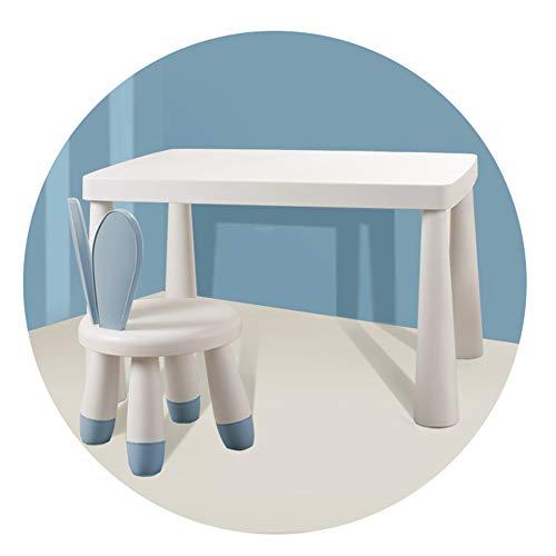SSHHM Juego de mesa y silla para niños Material de Los Pp Del Medio Ambiente,el Conejo EspaldaMesa de estudio,Casa de Luz,Muebles Preescolar Sólido/azul / 1table + 1chair