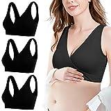 Libella 3 Paquetes Mujers Sujetador de Embarazo Sujetador de Lactancia con Encaje sin Copas Acolchadas de Alambre Umsatandsmode extraíble 3704 Negro L