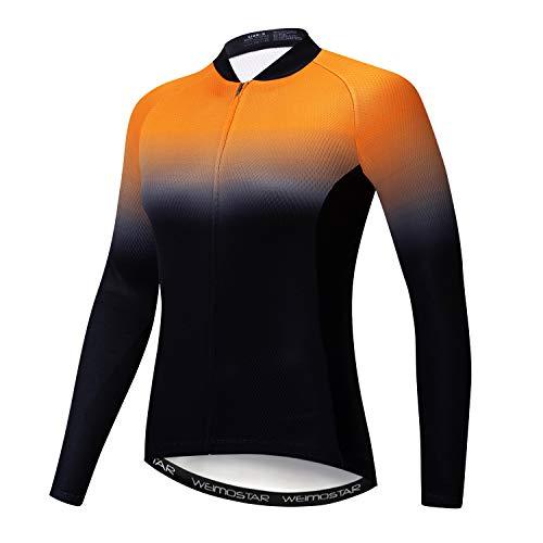 Maillot de ciclismo para mujer de manga larga, A3, L(For Your Chest 34-36')