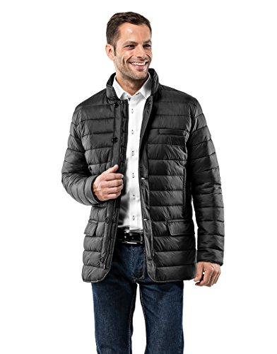 Vincenzo Boretti Herren Steppjacke im Blazer-Style Slim-fit tailliert Übergangs-Jacke leicht dünn weich warm gefüttert für Frühling Herbst modern elegant für Business Freizeit schwarz XL