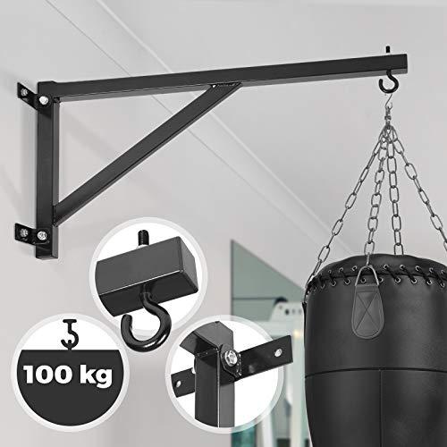 Physionics Boxsackhalterung - max. Tragkraft 100 kg, für die Wandmontage, platzsparend, aus Stahl - Boxsackhalter, Wandhalterung, Aufhängung, Halterung für Boxsack, Sandsack
