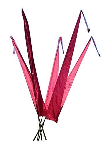 DEKOVALENZ - Bali-Fahnen Stoff NUSA DUA mit Rauten-Spitze, versch. Farben+Längen, Farbe:weinrot, Fahnenlänge:3 Meter