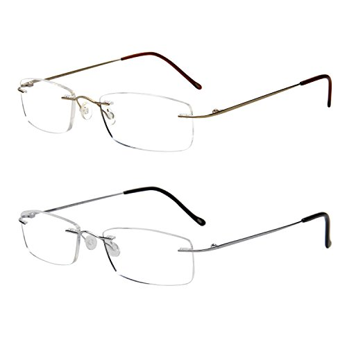 LianSan Titanium Lightweight Reading Glasses Men Womens Fashion Rimless Readers Glasses 8085 (+2.25, set) by LianSan