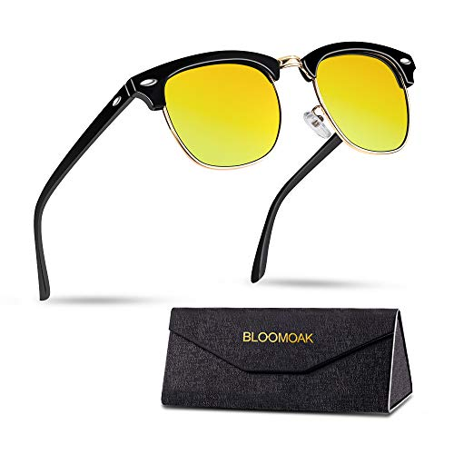 Bloomoak Occhiali da guida notturna, polarizzati, design classico | semi-telaio | rivetti metallici | protezione UV400 per la pesca | Riduzione del rischio | Occhiali da guida notturna antiriflesso