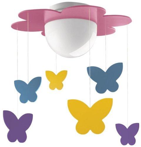 Philips myKidsRoom Meria - Plafón, iluminación interior, casquillo E27, vidrio, color rosa