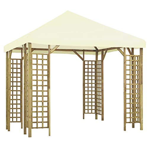 vidaXL Gazebo Canopies Shelters Party Tents Patio Pavilions Outdoor Patio Garden Party Tents Marquees Travelling Tents 3x3m Cream White