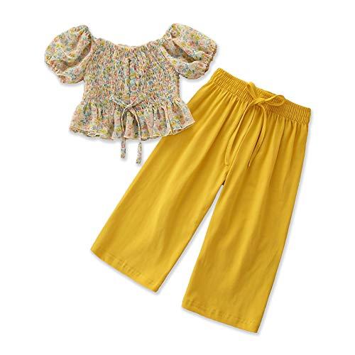 NCONCO Conjunto de ropa para niñas pequeñas con estampado floral y pantalones sueltos para niñas de 1 a 6 años