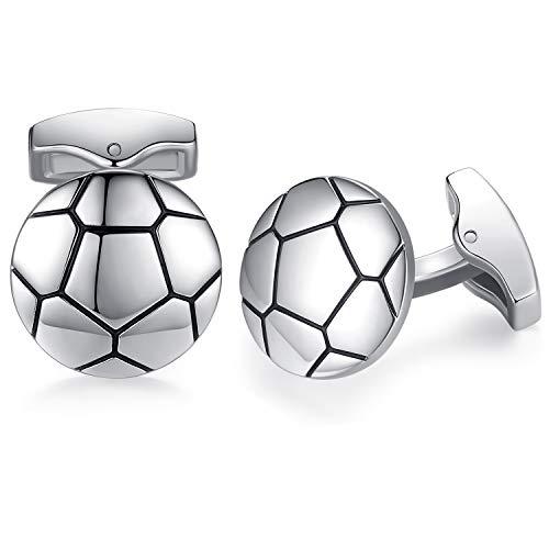 HONEY BEAR Calcio Sport gemelli per uomo –acciaio inox per regali di nozze aziendali,Argento