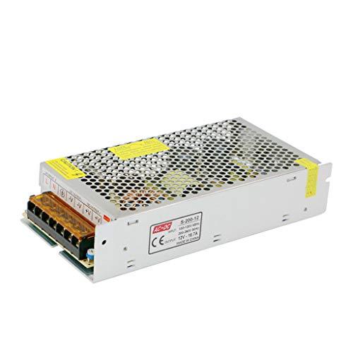 Weishuo Alimentatore Switching trasformatore Adattatore per Stampante 3D, CCTV, Radio, Progetto per Computer, luci a LED (12V 16.7A 200W)
