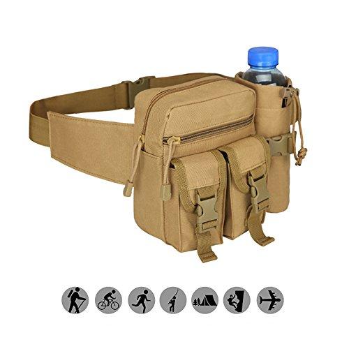RETON Military Gürteltasche Outdoor Aktivität Hüfttasche Mit Flaschenhalter für Radfahren Camping Wandern Jagd Angeln (Hellbraun)