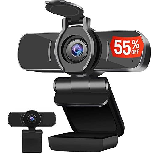 Dericam Cámara Web, cámara Web de Alta definición 1080P, reproducción y cámara de computadora enchufable, cámara Web USB para PC, Mac y Escritorio, con micrófono Incorporado y Cubierta de privacidad