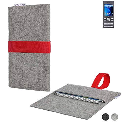 flat.design Handy Hülle Aveiro für Kazam Life B6 maßgeschneiderte Handytasche Filz Tasche Sleeve Pouch Grau rot