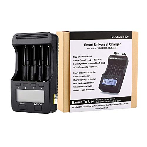 HLL LCD 3.7V/1.2V AA/AAA 18650/26650/16340/14500/10440/18500 Battery Charger with Screen+12V2A Adapter Lii500 5V1A