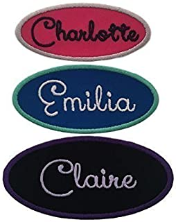 Name Patch Custom Embroidered Iron On Or Sew On Tag-Oval-Customized With Your Name, Fabric And Thread Colors-Choose From 3 Sizes! (1 Patch)