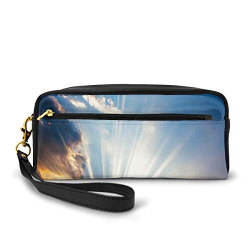 Pencil Case Pen Bag Pouch Stationary,Sky View with Sun Rays Lights from The Bottom Mystic Illusions Vision Vibrant Scene,Small Makeup Bag Coin Purse
