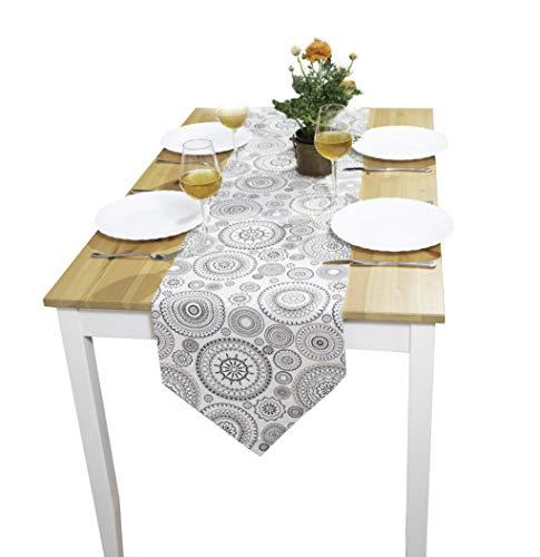 Premium Tischläufer modern | Skandinavische Deko Tischdecke Frühling 35x140 cm | qualitative Frühlingsdecke aus Stoff für das Wohnzimmer | Baumwolle Tischläufer hat Fleckschutz und ist abwaschbar