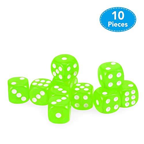 Explopur 10 STÜCKE 14 MM Transparente Würfel Acryl Glücksspiel Spielen Square Corner Dice Set
