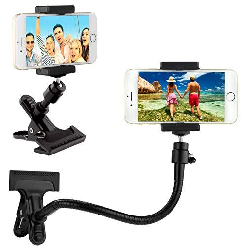 Soporte para teléfono/cámara con Cuello de Ganso Flexible y Abrazadera Fuerte – para fotografía móvil, Registro y visualización de Videos, navegación GPS, etc. – Montaje de trípode para cámara
