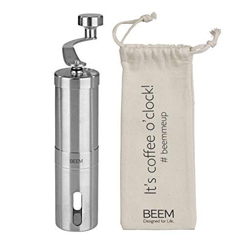 BEEM GRIND-2-GO Macinacaffè manuale – 40 g | macinino conico | regolazione continua | sacchetto di cotone | Macinacaffè manuale | acciaio inox | caffè (macinacaffè manuale)