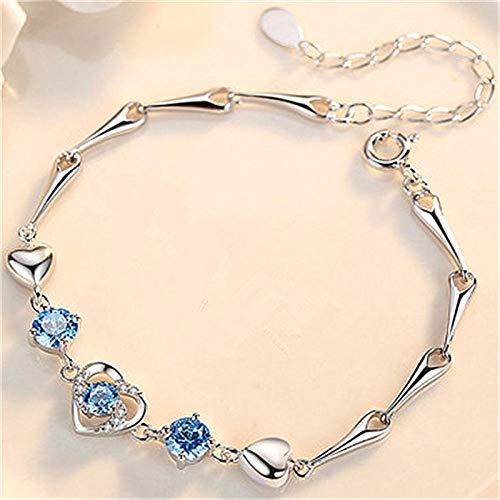 Pulseras Brazalete Joyería Mujer Pulsera De Plata Joyas para Mujer Corazónbrillantepulsera Azul Regalo De Cumpleaños Femenino Pulsera De Moda-Azul