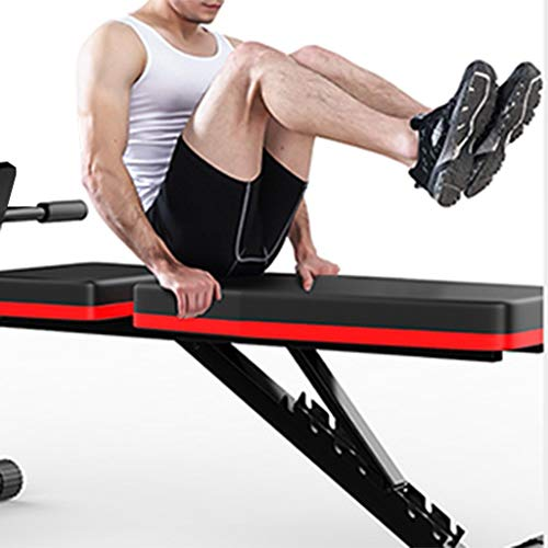 Lomelomme Adjustable Weight Bench Foldable Sit Up Bench Home Training Gym Workout Benchs Adjustable Sit Up Incline Abs Benchs Flat Fly Weight Press Fitness with Pull Rope