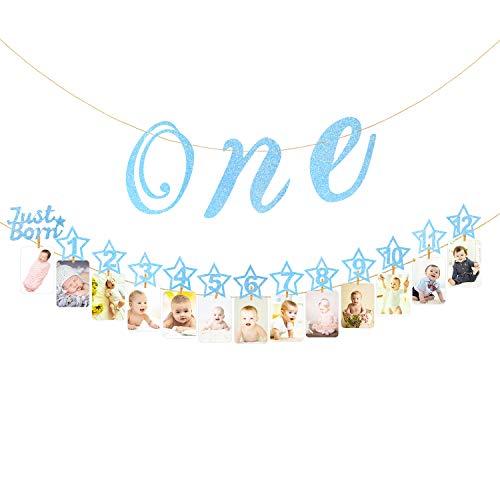 Hifot 1 ° Bandiera Fotografico di Compleanno con Seggiolone Glitter per Oro Bebè Decorazione, Pietra miliare mensile Photo Bunting per Neonati a 12 Mesi Primo Set di Decorazioni di Compleanno (Blu)