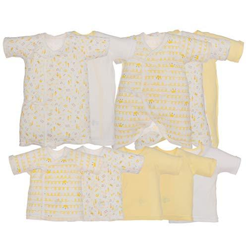 西松屋(EFD)10枚組フライス肌着セット(花・冠・のりもの)【新生児50-60cm】新生児イエロー(冠)